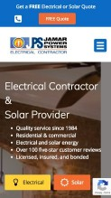 Mobile website screenshot of solar company