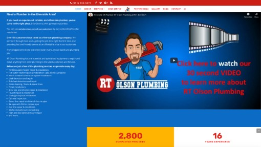 plumber website design with video