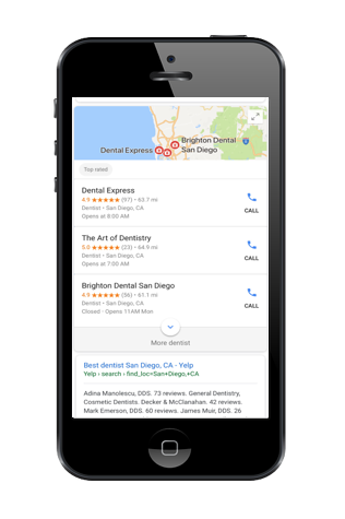 mobile smartphone with Google search results page