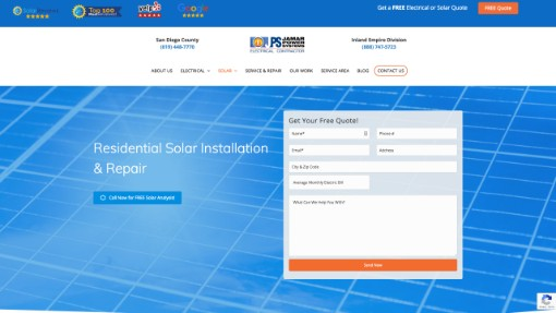 solar website page example