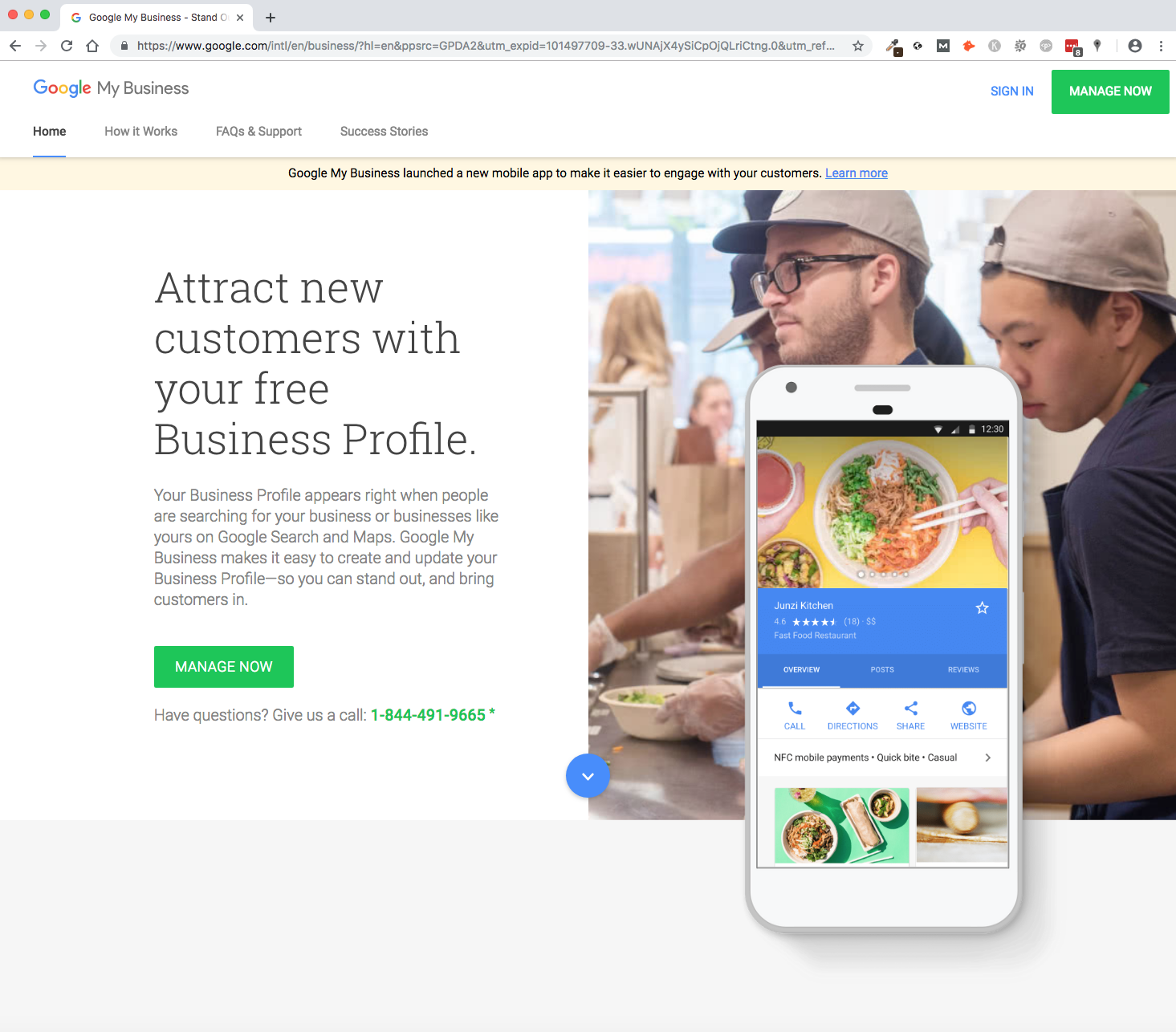 Screenshot of Google My Business home page