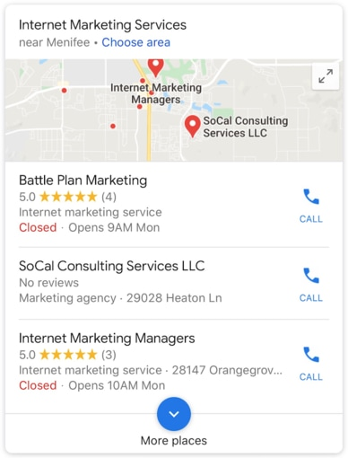 GMB Local Pack - mobile - Battle Plan Marketing