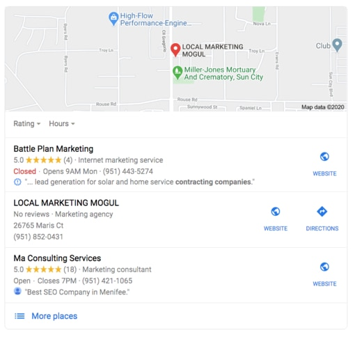 Google Map Local Pack with Battle Plan Marketing At Top - 510px