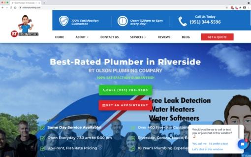 Case Study Screenshot - RT Olson Plumbing Company website