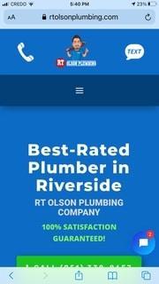 RT Olson Plumbing mobile screenshot - case study