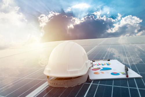 Happy,Working,Solar,Station,Photovoltaic,Panels,science,Solar,Energy,engineer,Working,On